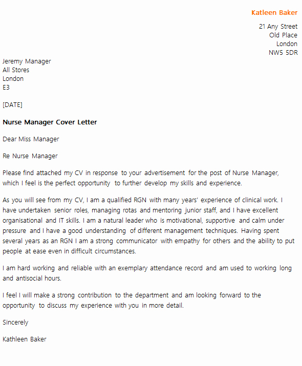Cover Letter for Manager Position Lovely Nurse Manager Cover Letter Example Icover