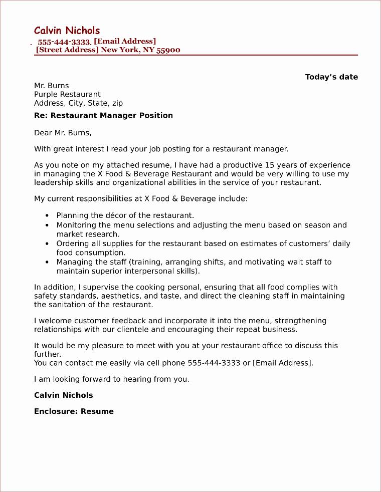 Cover Letter for Manager Position Luxury Restaurant Manager Cover Letter Sample