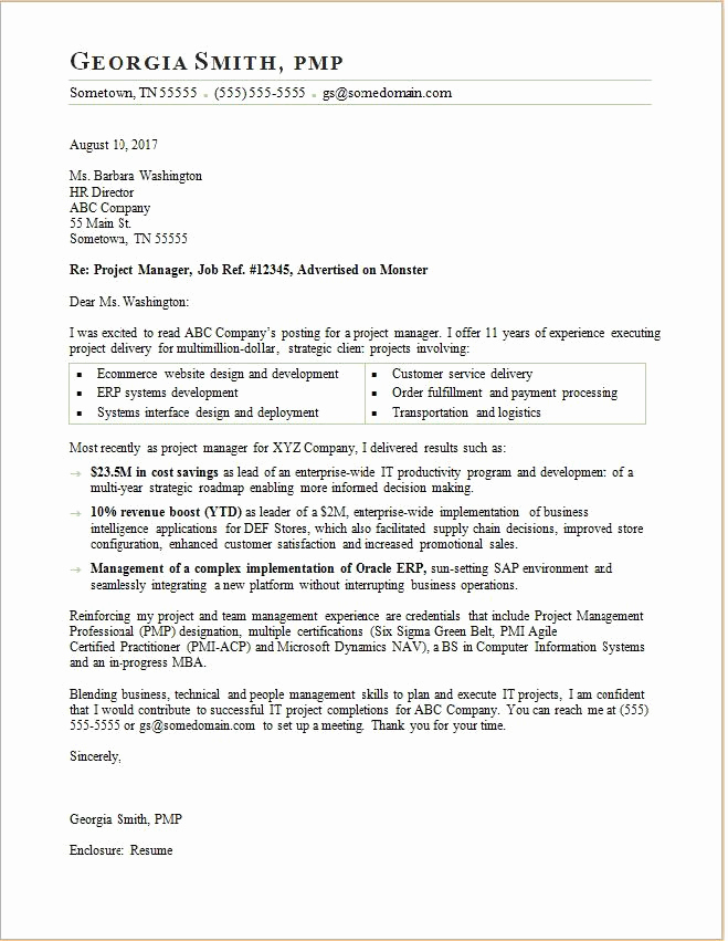 Cover Letter for Manager Position New Project Manager Cover Letter Sample