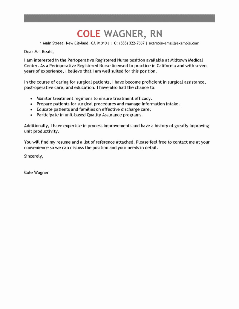 Cover Letter for Nursing Job Elegant Best Perioperative Nurse Cover Letter Examples