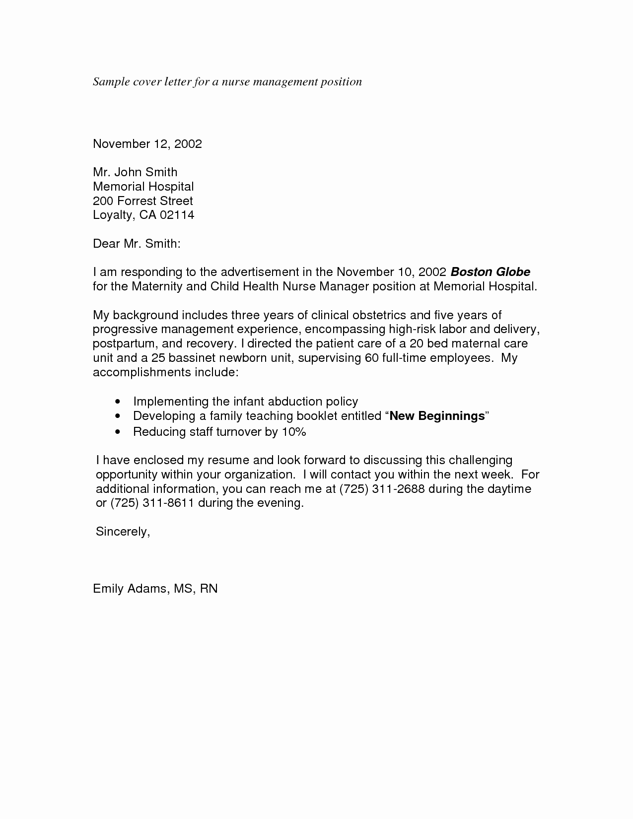 Cover Letter for Nursing Job Elegant Cover Letter format Nursing Director Cover Letter