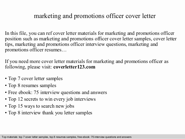 Cover Letter for Promotion Best Of Marketing and Promotions Officer Cover Letter