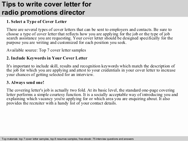 Cover Letter for Promotion Best Of Radio Promotions Director Cover Letter