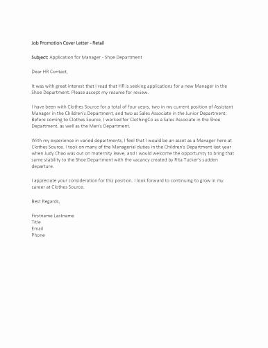 Cover Letter for Promotion Elegant Sample – Job Promotion Cover Letter