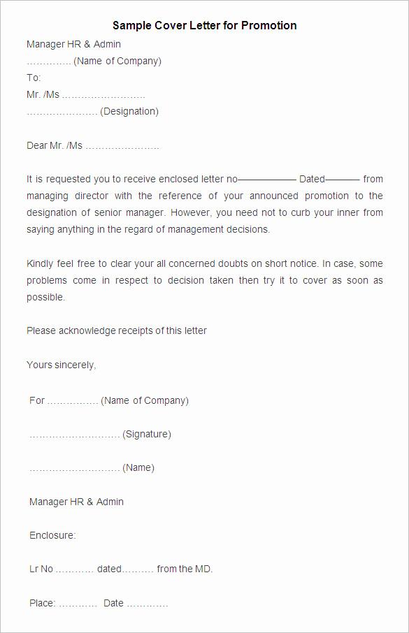 Cover Letter for Promotion Fresh 20 Promotion Letter Templates Pdf Doc