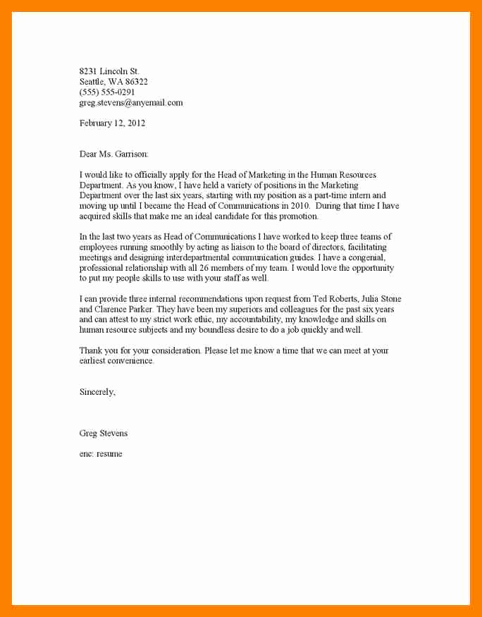Cover Letter for Promotion Unique 6 Promotion Cover Letter