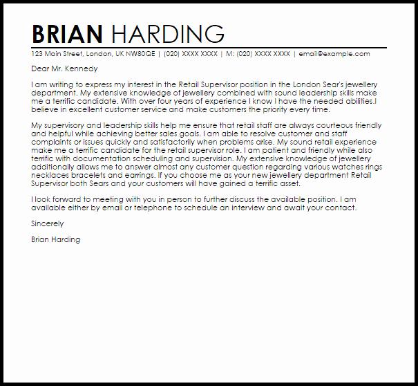Cover Letter for Retail Best Of Retail Supervisor Cover Letter Sample