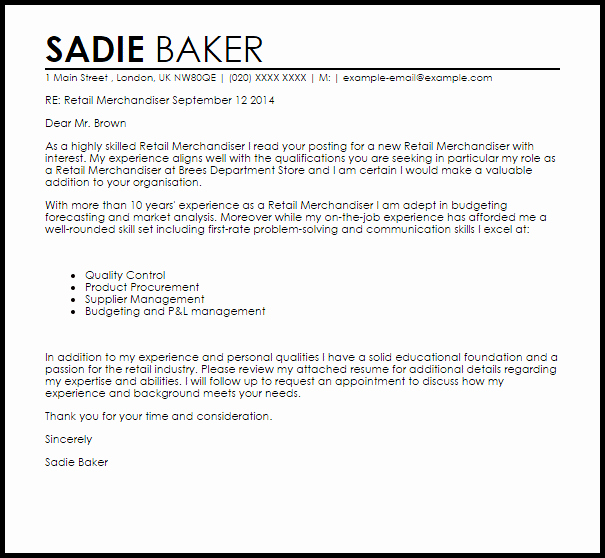 Cover Letter for Retail Inspirational Retail Merchandiser Cover Letter Sample