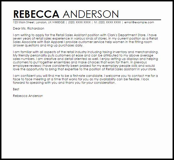 Cover Letter for Retail Unique Retail Sales assistant Cover Letter Sample