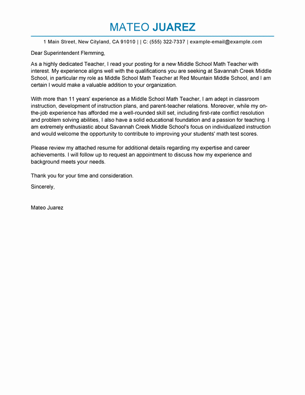 Cover Letter for Teaching Position Best Of Best Teacher Cover Letter Examples