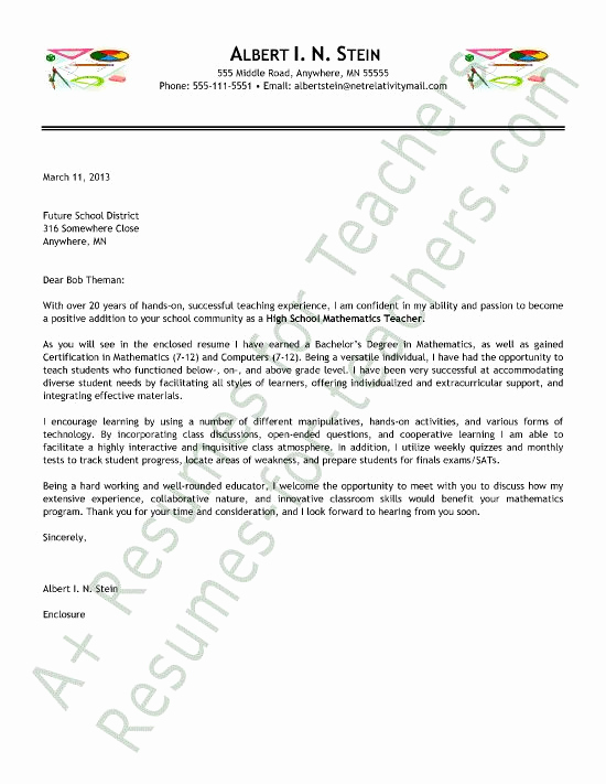 Cover Letter for Teaching Position Best Of Math Teacher Cover Letter 550×711 Pixels