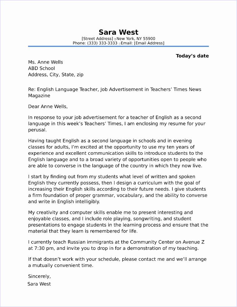 Cover Letter for Teaching Position New Preschool Teacher Cover Letter Sample