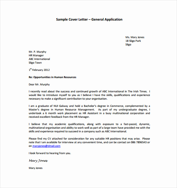 Cover Letter Free Template Lovely 15 General Cover Letter Templates Free Sample Example