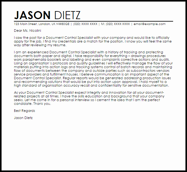 Cover Letter Template Doc Inspirational Document Control Specialist Cover Letter Sample
