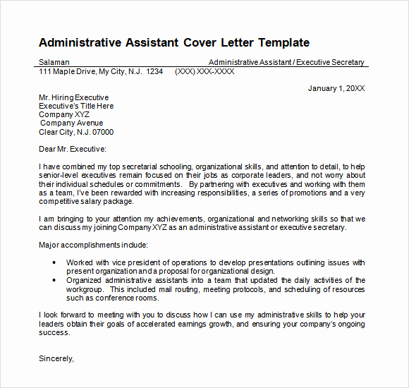 Cover Letter Template Doc New Administrative assistant Resume 8 Download Free