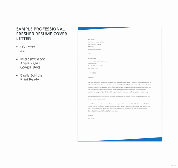Cover Letter Template Doc Unique 10 Cover Letter Templates for Freshers