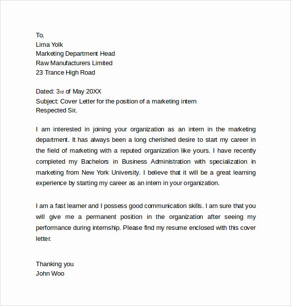 Cover Letter Template for Internship Best Of 13 Internship Cover Letters – Samples Examples & formats