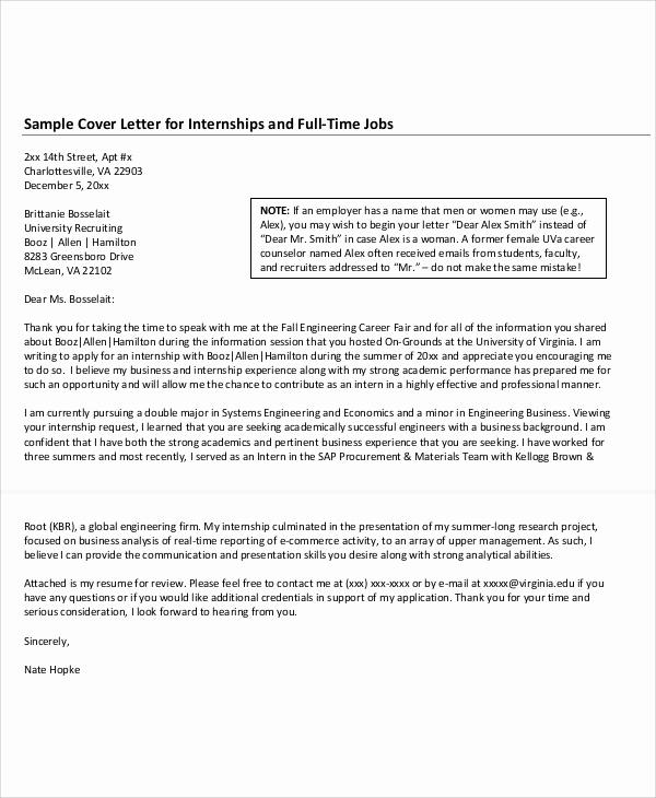 Cover Letter Template for Internship Fresh 10 Job Application Letter for Internship Free Sample