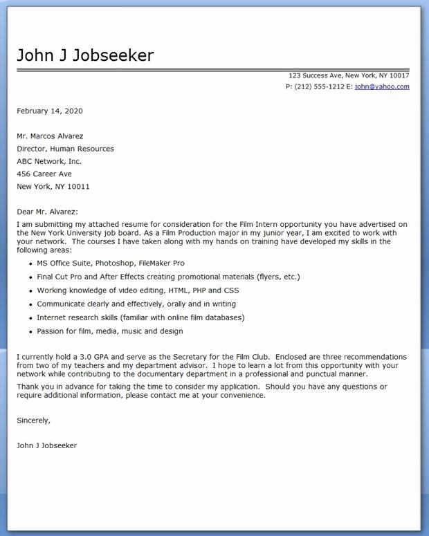 Cover Letter Template for Internship Fresh Internship Cover Letter Examples