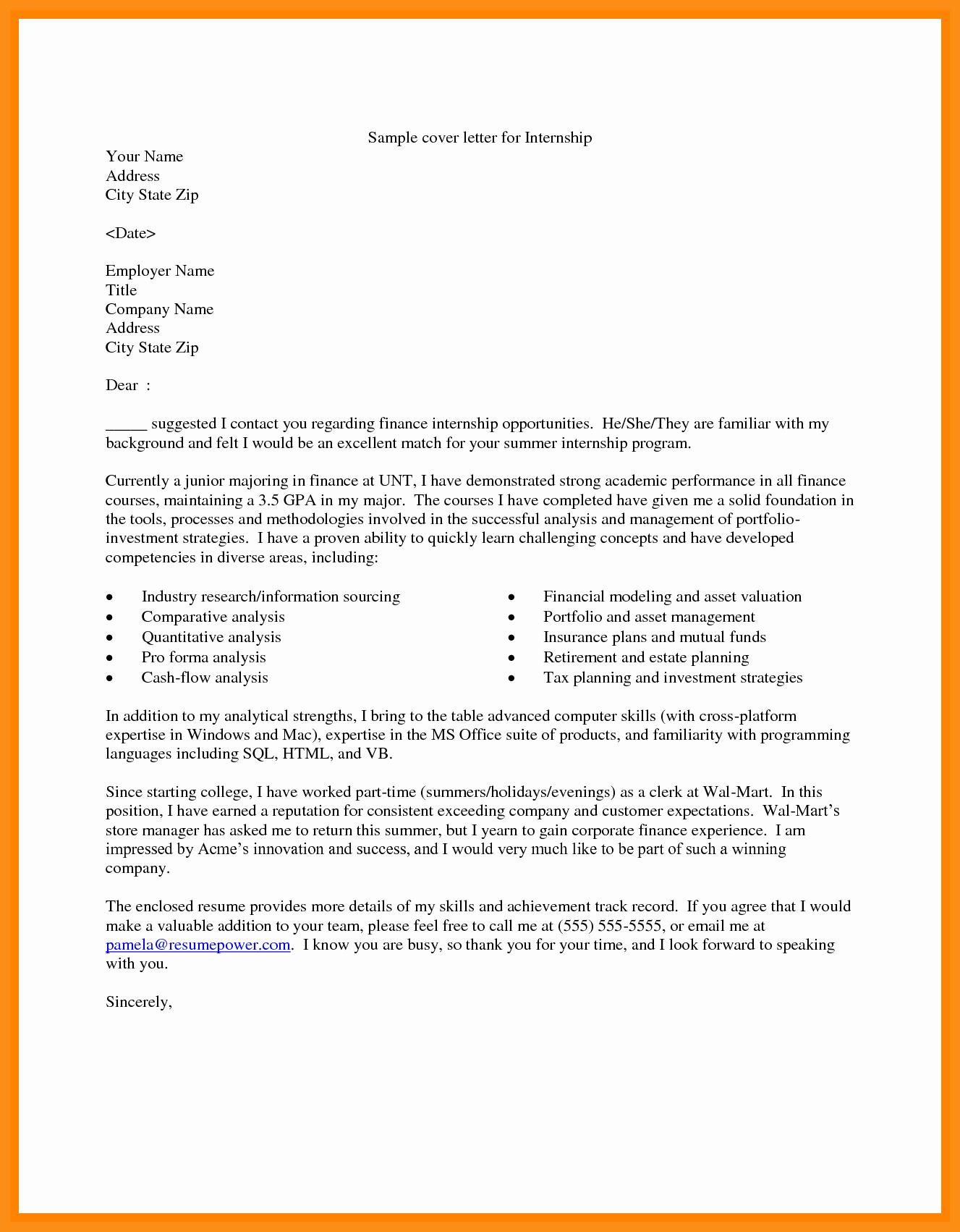 cover letter finance internship