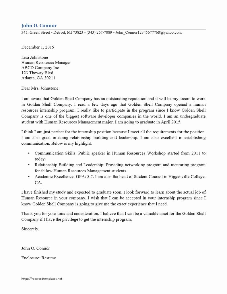 Cover Letter Template for Internship Unique Internship Cover Letter