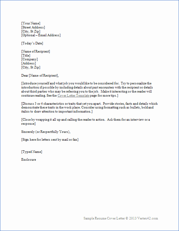 Cover Letter Word Template Fresh Resume Cover Letter Template for Word