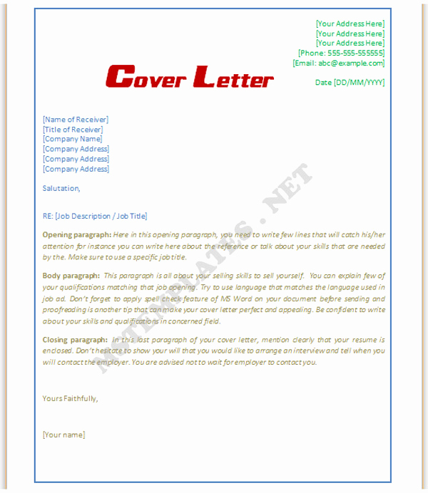 Cover Letter Word Template Lovely Cover Letter Template Word Doc