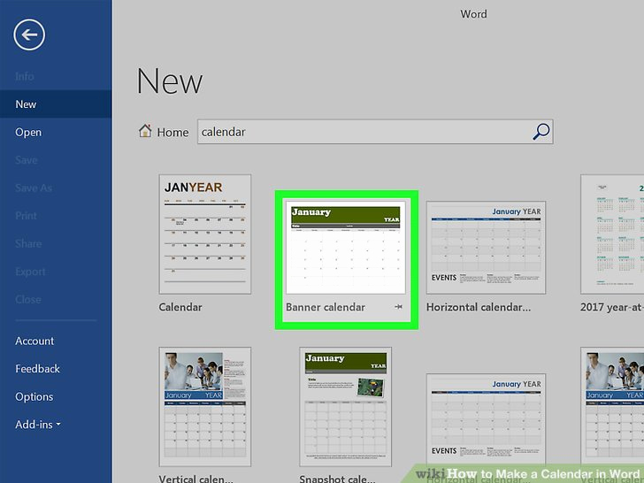 Create A Calendar In Word Awesome How to Make A Calendar In Word with Wikihow