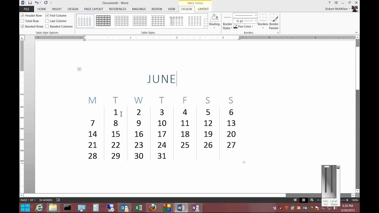 Create A Calendar In Word Beautiful How to Insert A Calendar In Microsoft Word 2013