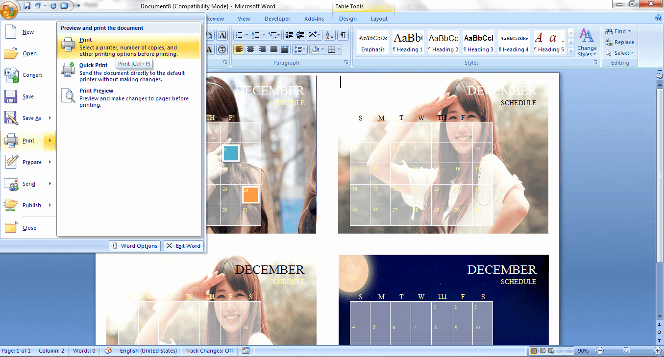 Create A Calendar In Word Inspirational How to Create A Custom Calendar In Ms Word 2007 [guide