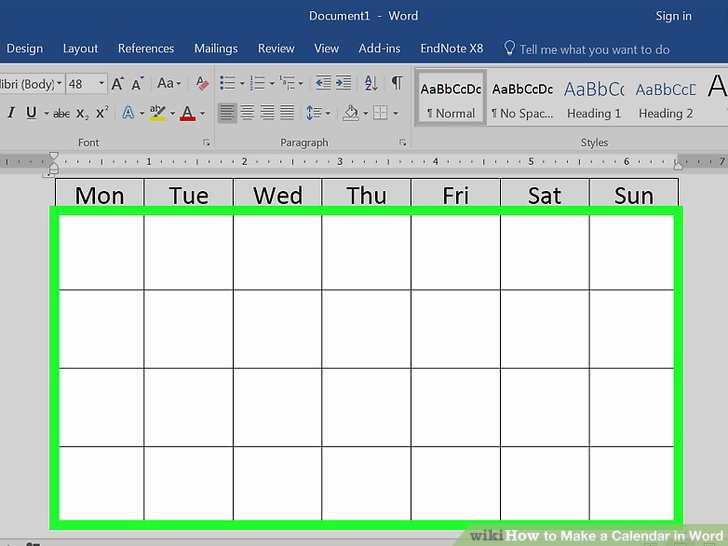 Create Calendar In Word Inspirational How to Make A Calendar In Word with Wikihow
