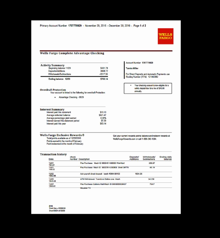 Create Fake Bank Statement Template Inspirational Bank Statement Wells Fargo Fake Documents
