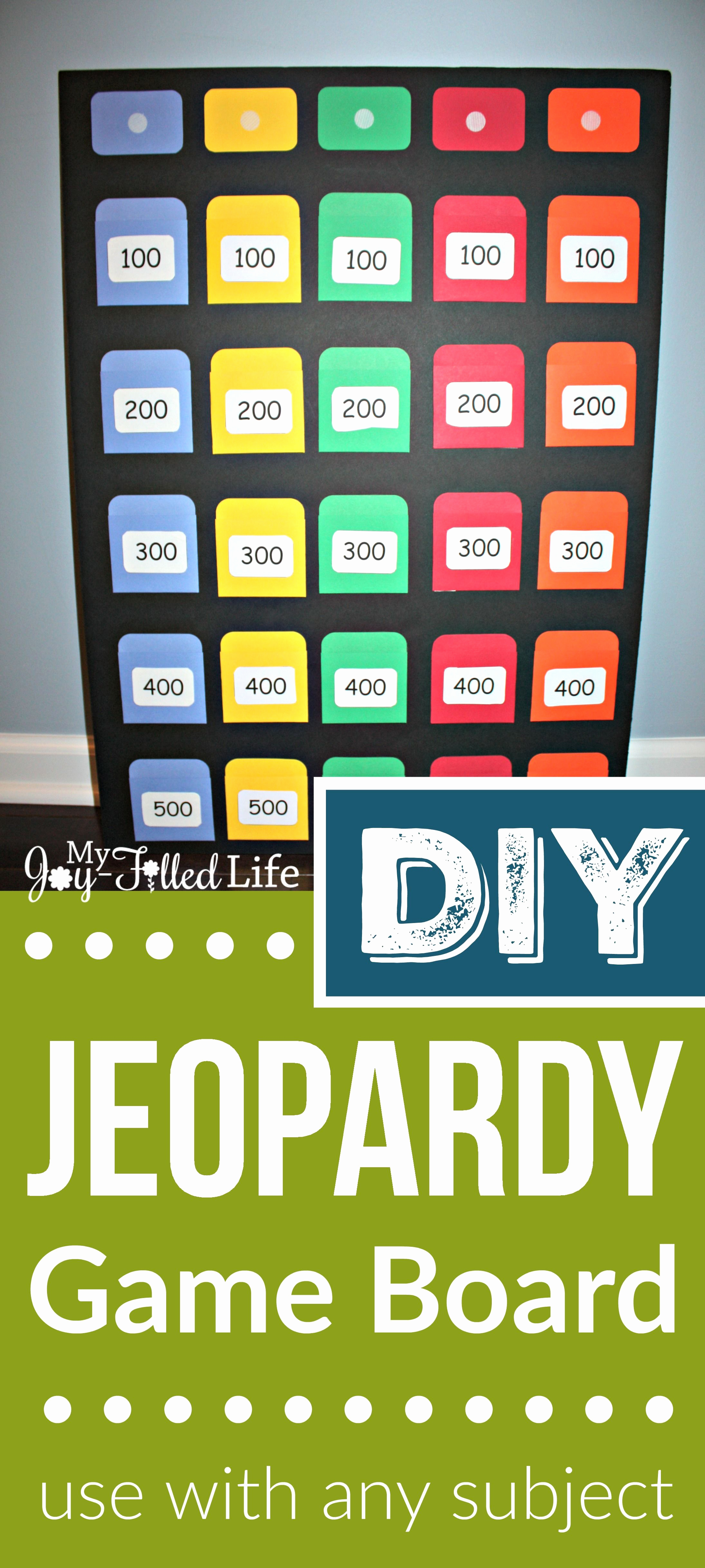Create Your Own Jeopardy Game Beautiful Diy Jeopardy Game Board My Joy Filled Life