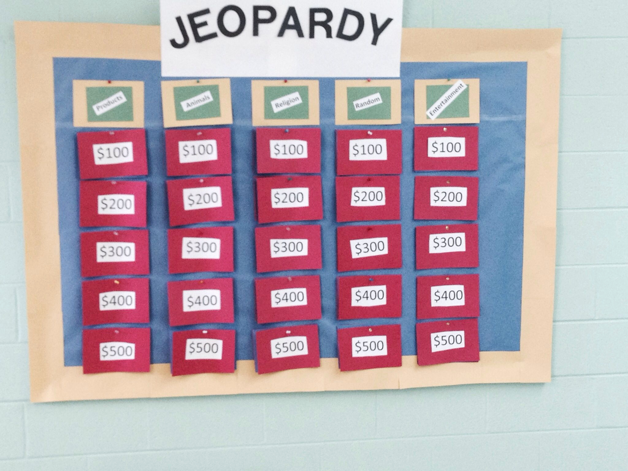 """Create Your Own Jeopardy Game Best Of Jeopardy Board for Our Church """"junk Food and Jeopardy"""