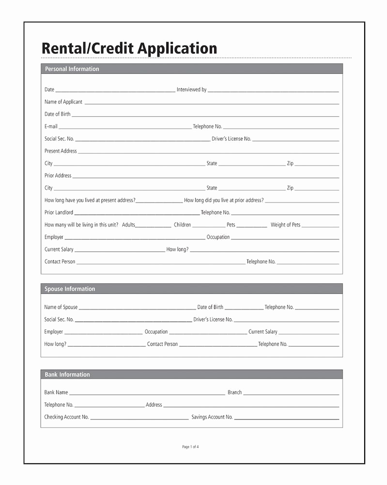 Credit Application form Pdf Beautiful Rental Credit Application forms and Instructions