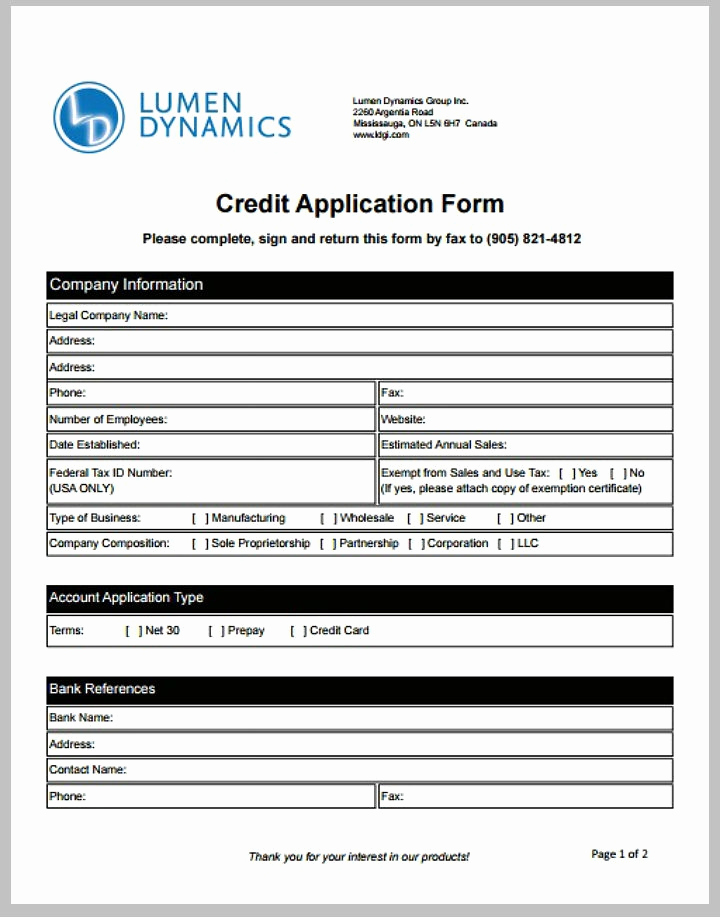 Credit Application form Pdf Elegant 8 Credit Application form Templates Pdf