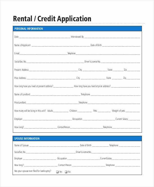 Credit Application form Pdf Fresh Rental Application form 10 Free Documents In Pdf Doc