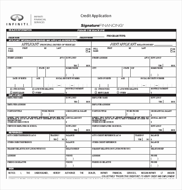 Credit Application form Pdf New Credit Application Template 33 Examples In Pdf Word