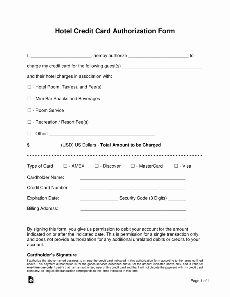 Credit Card Authorization form Pdf Awesome Free Hotel Credit Card Authorization forms Word