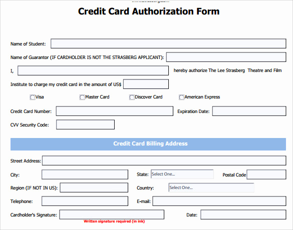 Credit Card Authorization form Pdf Beautiful Credit Card Authorization form 6 Download Free