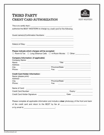 Credit Card Authorization form Pdf Beautiful Download Best Western Credit Card Authorization form