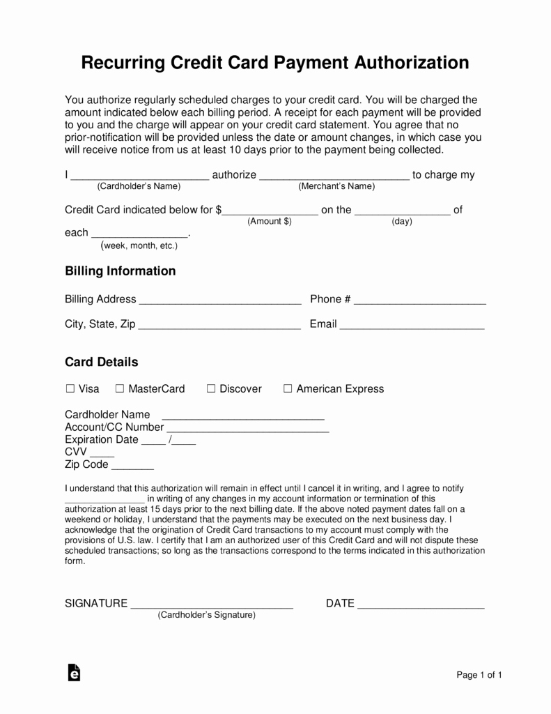 Credit Card Authorization form Pdf Elegant Free Recurring Credit Card Authorization form Word