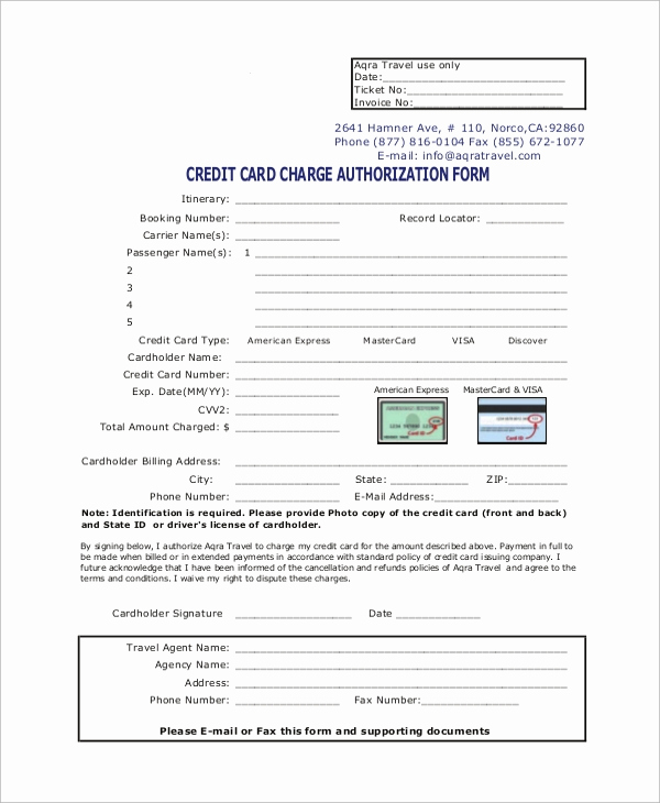Credit Card Authorization form Pdf Fresh Sample Credit Card Authorization form 8 Examples In