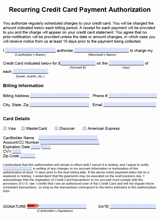 Credit Card Authorization form Pdf Lovely Free Recurring Credit Card Payment Authorization form