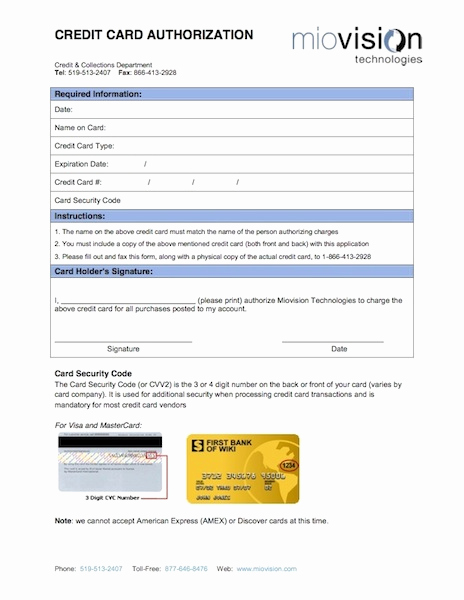 Credit Card Authorization form Pdf New Terms and Conditions