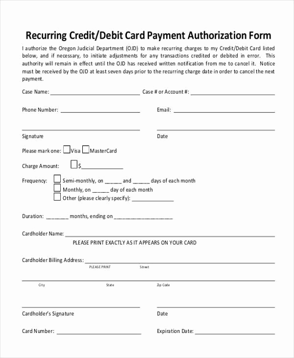 Credit Card Authorization form Pdf Unique Authorization form Templates