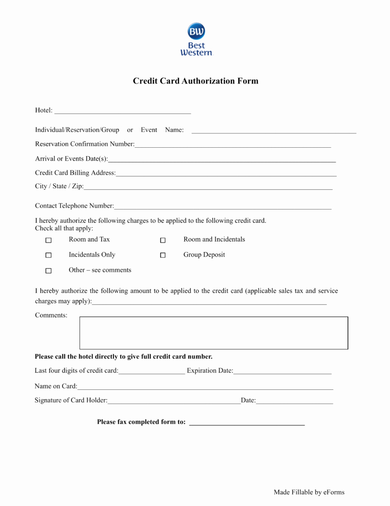 Credit Card Authorization form Pdf Unique Free Best Western Hotel Credit Card Authorization form