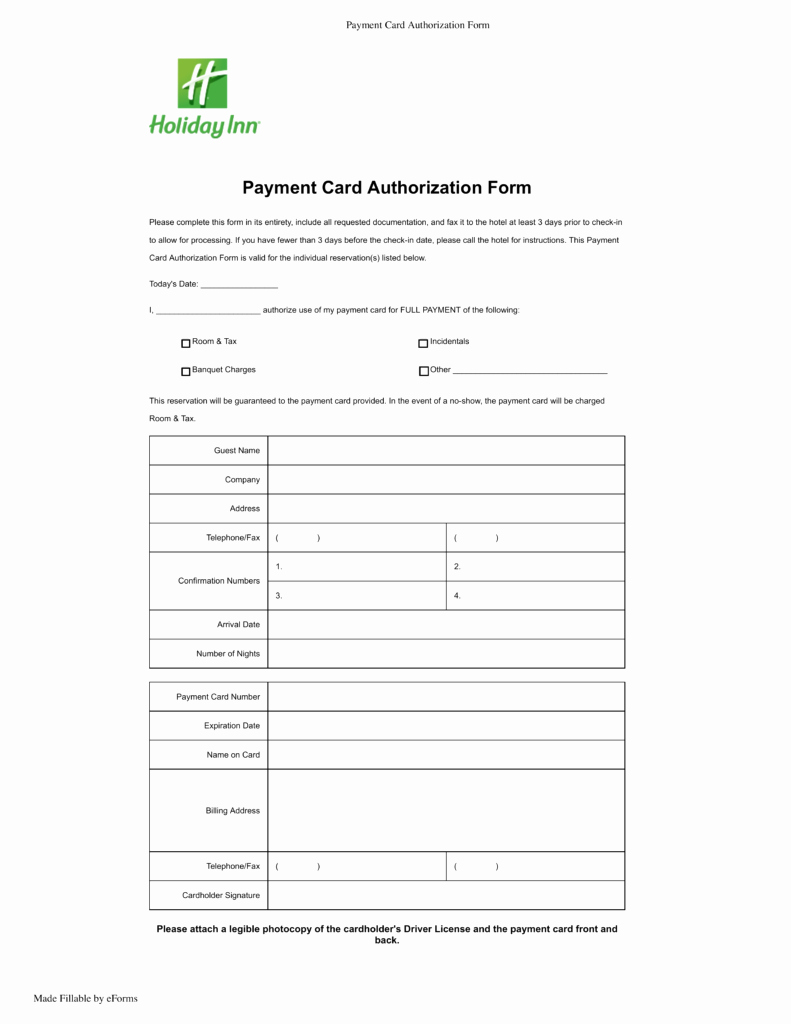 Credit Card Authorization form Pdf Unique Free Holiday Inn Credit Card Authorization form Pdf
