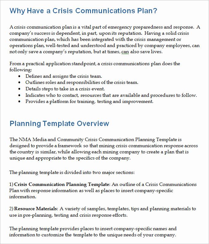 Crisis Communication Plan Template Elegant 3 Crisis Munication Plan Templates Doc Pdf