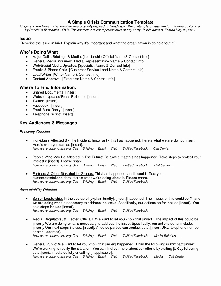 Crisis Communication Plan Template New A Simple Crisis Munication Template